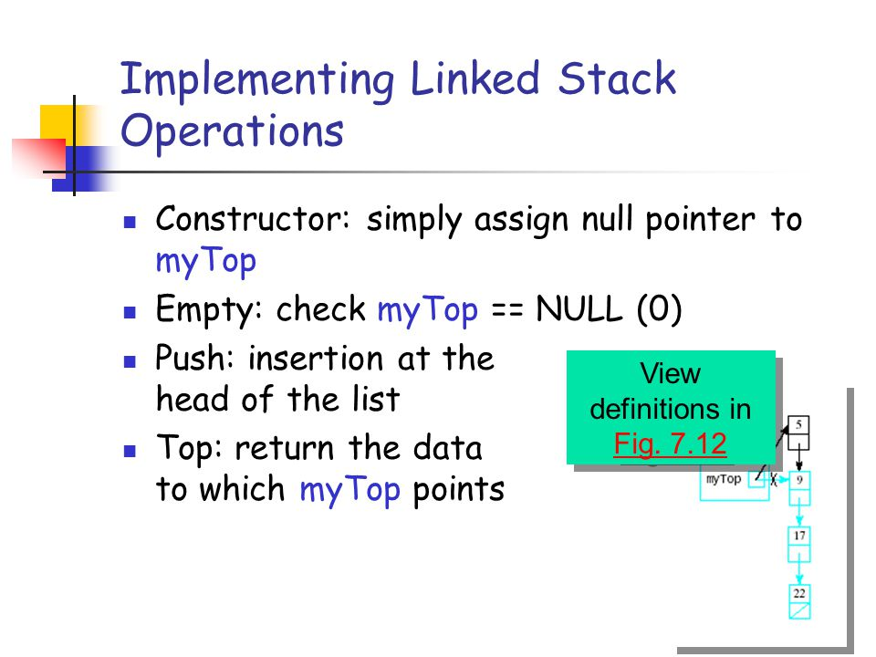 Implementing Linked Stack Operations Constructor: simply assign null pointer to myTop Empty: check myTop == NULL (0) Push: insertion at the head of the list Top: return the data to which myTop points View definitions in Fig.