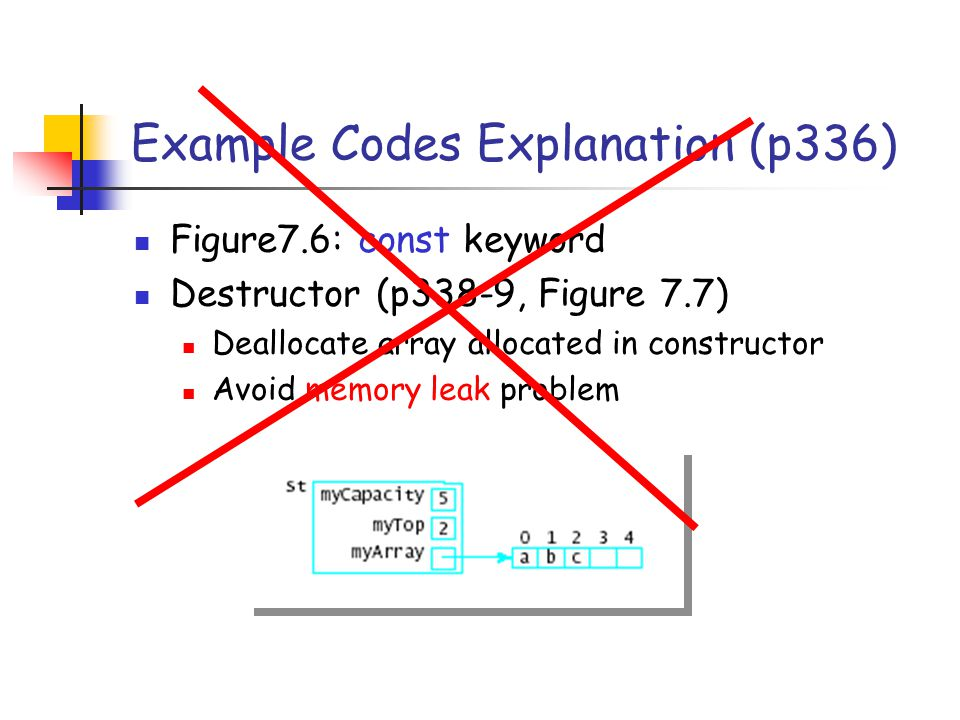 Example Codes Explanation (p336) Figure7.6: const keyword Destructor (p338-9, Figure 7.7) Deallocate array allocated in constructor Avoid memory leak