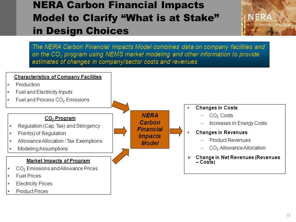 19 NERA Carbon Financial Impacts Model to Clarify What is at Stake in Design Choices NERA Carbon Financial Impacts Model CO 2 Program  Regulation (Cap, Tax) and Stringency  Point(s) of Regulation  Allowance Allocation / Tax Exemptions  Modeling Assumptions Characteristics of Company Facilities  Production  Fuel and Electricity Inputs  Fuel and Process CO 2 Emissions Market Impacts of Program  CO 2 Emissions and Allowance Prices  Fuel Prices  Electricity Prices  Product Prices  Changes in Costs –CO 2 Costs –Increases in Energy Costs  Changes in Revenues –Product Revenues –CO 2 Allowance Allocation  Change in Net Revenues (Revenues – Costs ) The NERA Carbon Financial Impacts Model combines data on company facilities and on the CO 2 program using NEMS market modeling and other information to provide estimates of changes in company/sector costs and revenues