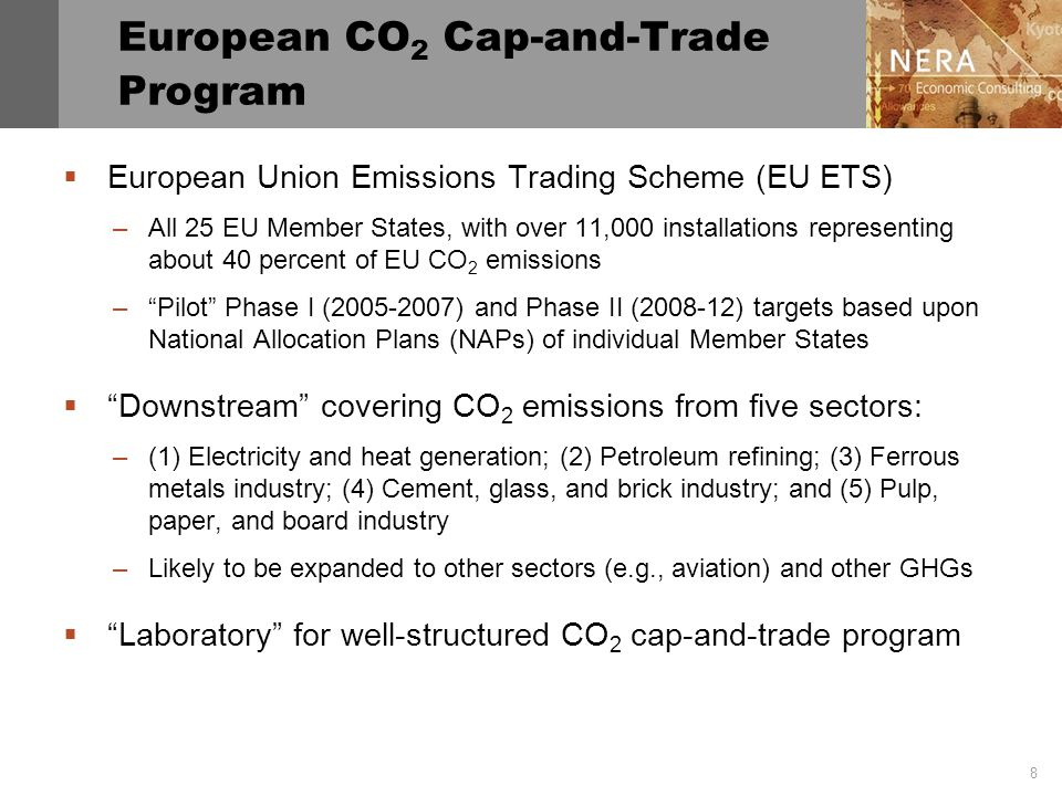 8 European CO 2 Cap-and-Trade Program  European Union Emissions Trading Scheme (EU ETS) –All 25 EU Member States, with over 11,000 installations representing about 40 percent of EU CO 2 emissions – Pilot Phase I (2005-2007) and Phase II (2008-12) targets based upon National Allocation Plans (NAPs) of individual Member States  Downstream covering CO 2 emissions from five sectors: –(1) Electricity and heat generation; (2) Petroleum refining; (3) Ferrous metals industry; (4) Cement, glass, and brick industry; and (5) Pulp, paper, and board industry –Likely to be expanded to other sectors (e.g., aviation) and other GHGs  Laboratory for well-structured CO 2 cap-and-trade program