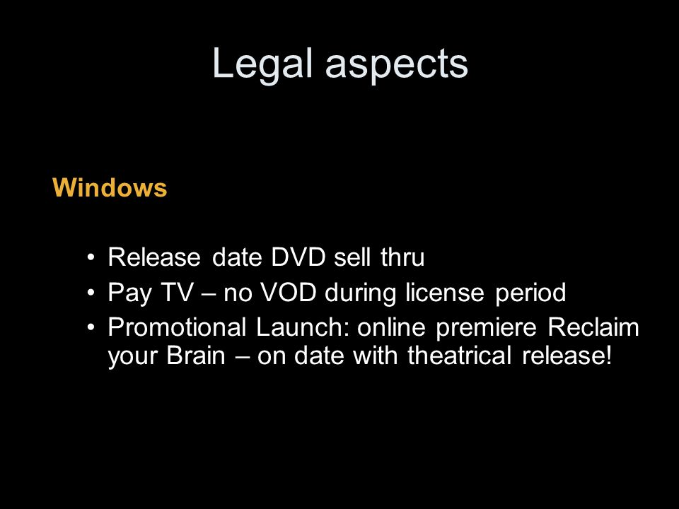 Legal aspects License License Period: -streaming - 48 h -Download-to-own: unlimited plays but only viewing on download PC -No download-to-burn – (contractual obligations – piracy) Security Geoblocked: IP adress Microsoft DRM: anti-piracy – contractual obligation - No access for Mac users - Also problematic for other users ( Windows media player)