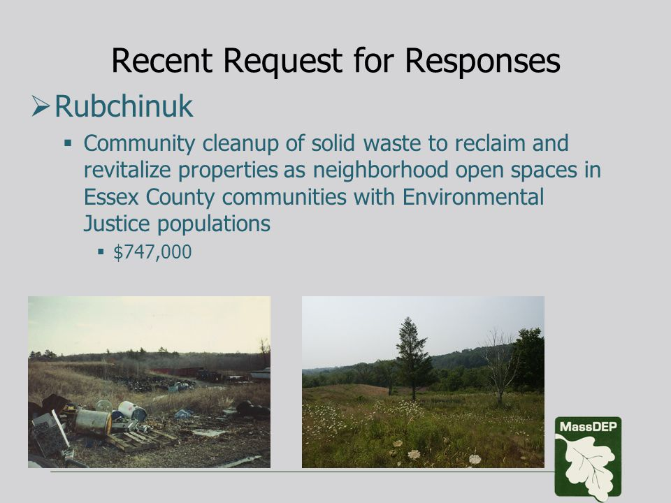 Recent Request for Responses  Rubchinuk  Community cleanup of solid waste to reclaim and revitalize properties as neighborhood open spaces in Essex County communities with Environmental Justice populations  $747,000