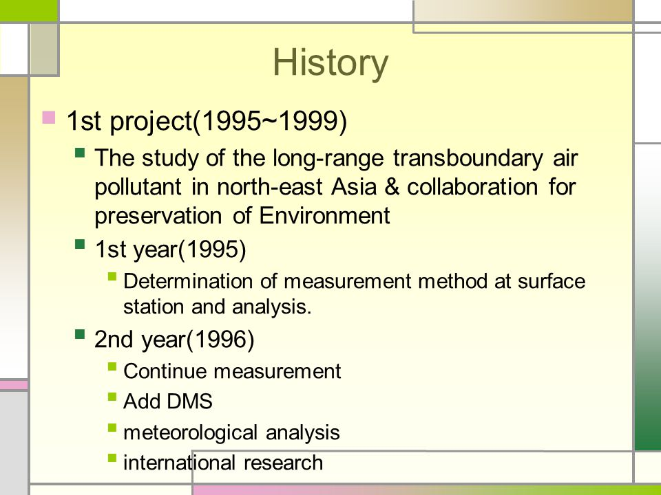 History 1st project(1995~1999) The study of the long-range transboundary air pollutant in north-east Asia & collaboration for preservation of Environment 1st year(1995) Determination of measurement method at surface station and analysis.