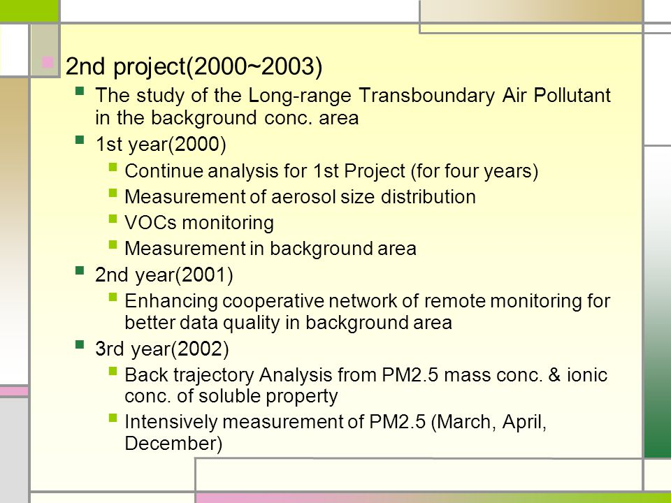 2nd project(2000~2003) The study of the Long-range Transboundary Air Pollutant in the background conc.