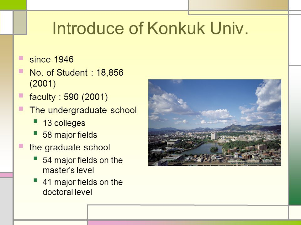 Introduce of Konkuk Univ. since 1946 No. of Student : 18,856 (2001) faculty : 590 (2001) The undergraduate school 13 colleges 58 major fields the grad