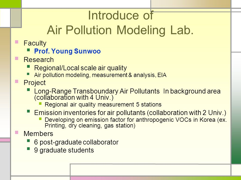 Introduce of Air Pollution Modeling Lab. Faculty Prof.