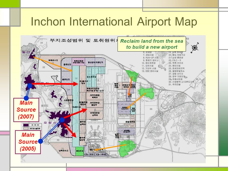 Inchon International Airport Map Main Source (2005) Reclaim land from the sea to build a new airport Main Source (2007)