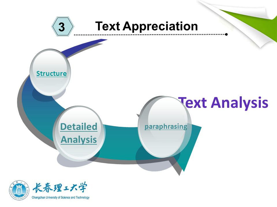 Text Appreciation 3 Detailed Analysis Structure Text Analysis paraphrasing