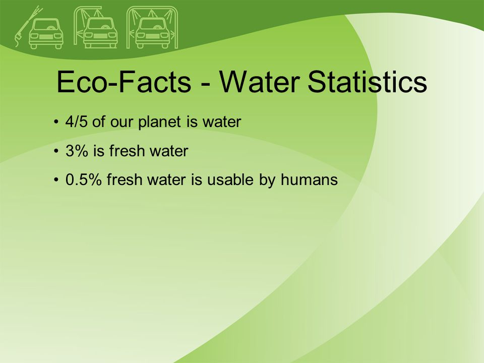 Eco-Facts - Water Statistics 4/5 of our planet is water 3% is fresh water 0.5% fresh water is usable by humans
