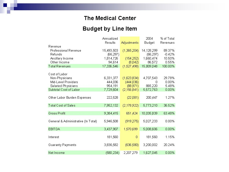 The Medical Center Budget by Line Item