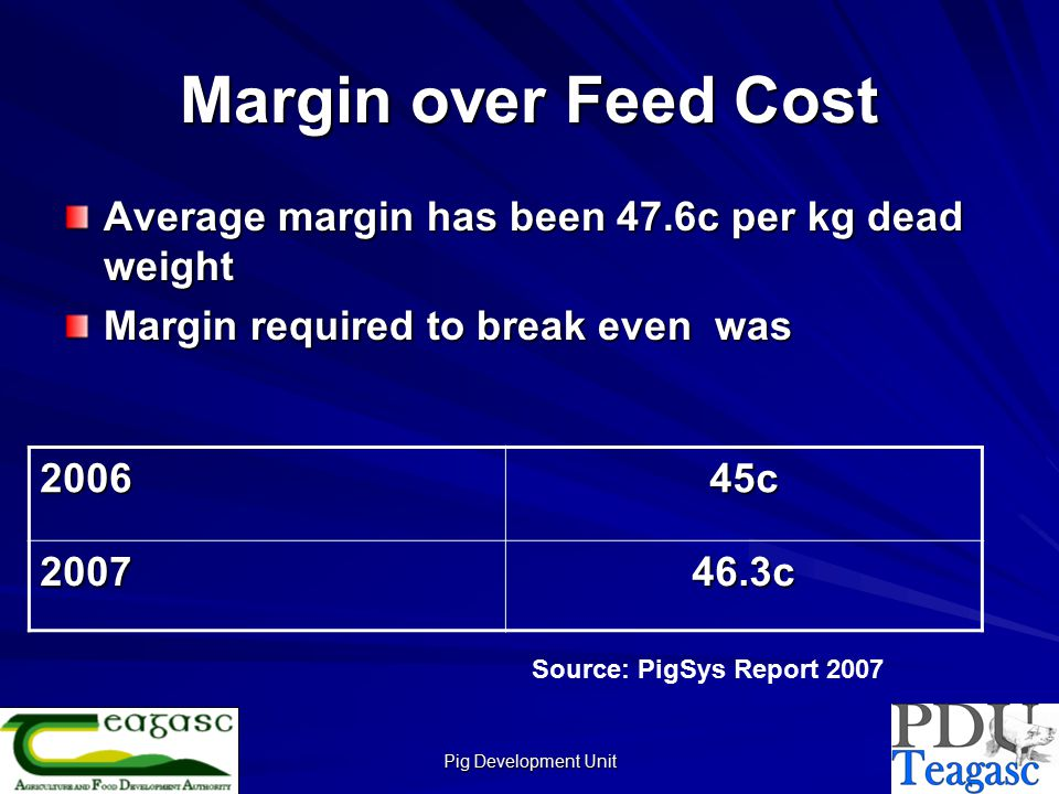 Pig Development Unit Margin over Feed Cost Average margin has been 47.6c per kg dead weight Margin required to break even was 200645c 200746.3c Source: PigSys Report 2007