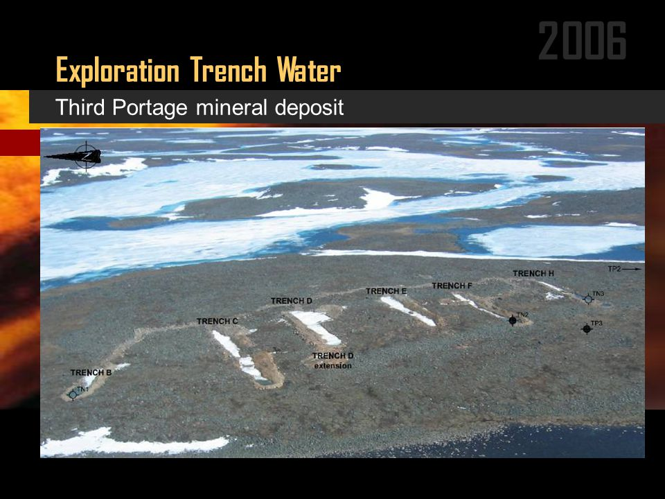 2006 Exploration Trench Water (Photo of trenches close-up and aerial) Third Portage mineral deposit