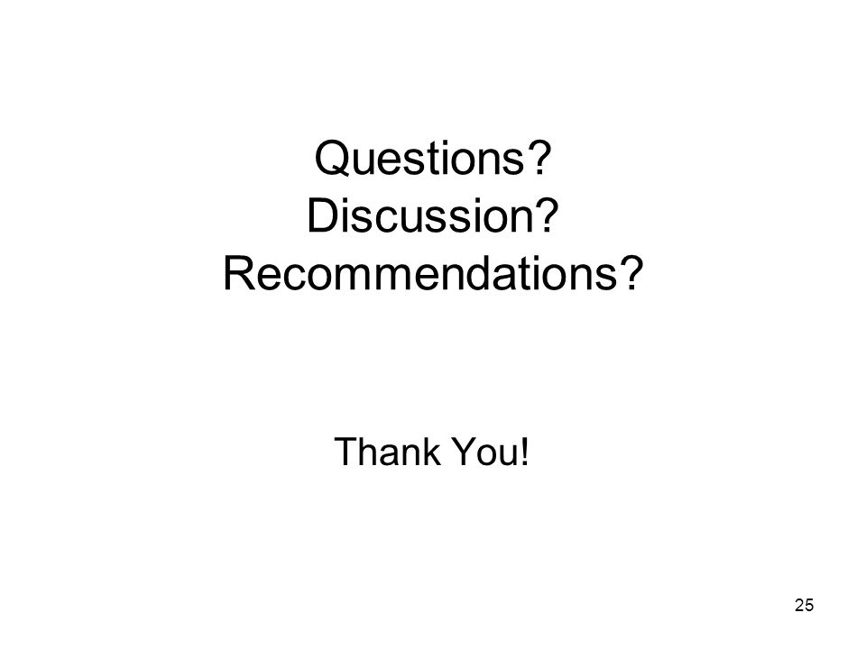 25 Questions Discussion Recommendations Thank You!