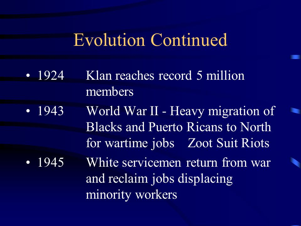 Evolution Continued 1915Second Klan group charted in Georgia 1914-18World War I - Gang activity diminishes 1919Prohibition - Golden age of Gangs 1920Immigration from Asia and Europe Stopped, First signs of Black gangs