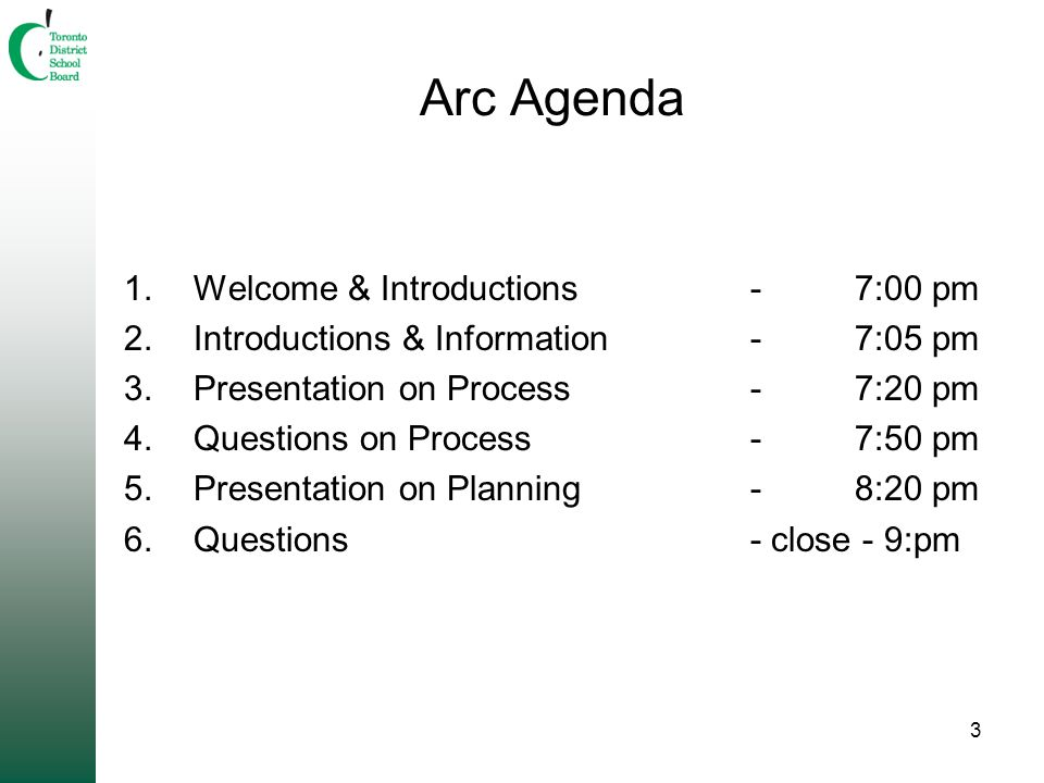 3 Arc Agenda 1.Welcome & Introductions-7:00 pm 2.Introductions & Information-7:05 pm 3.Presentation on Process-7:20 pm 4.Questions on Process-7:50 pm 5.Presentation on Planning-8:20 pm 6.Questions - close - 9:pm