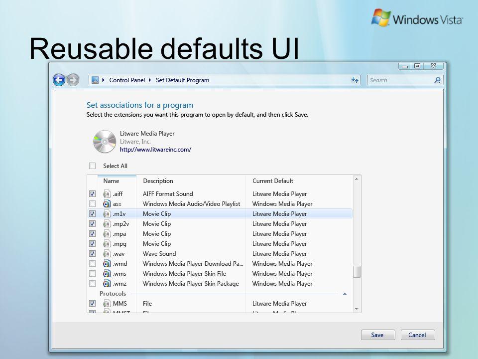 Reusable defaults UI