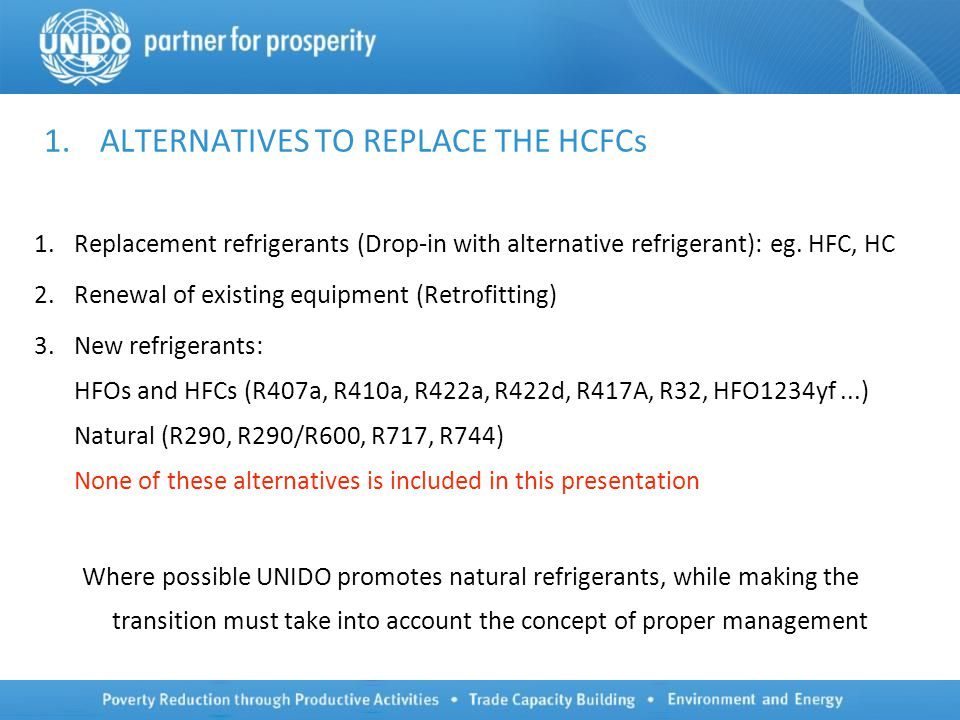 1.ALTERNATIVES TO REPLACE THE HCFCs 1.Replacement refrigerants (Drop-in with alternative refrigerant): eg.
