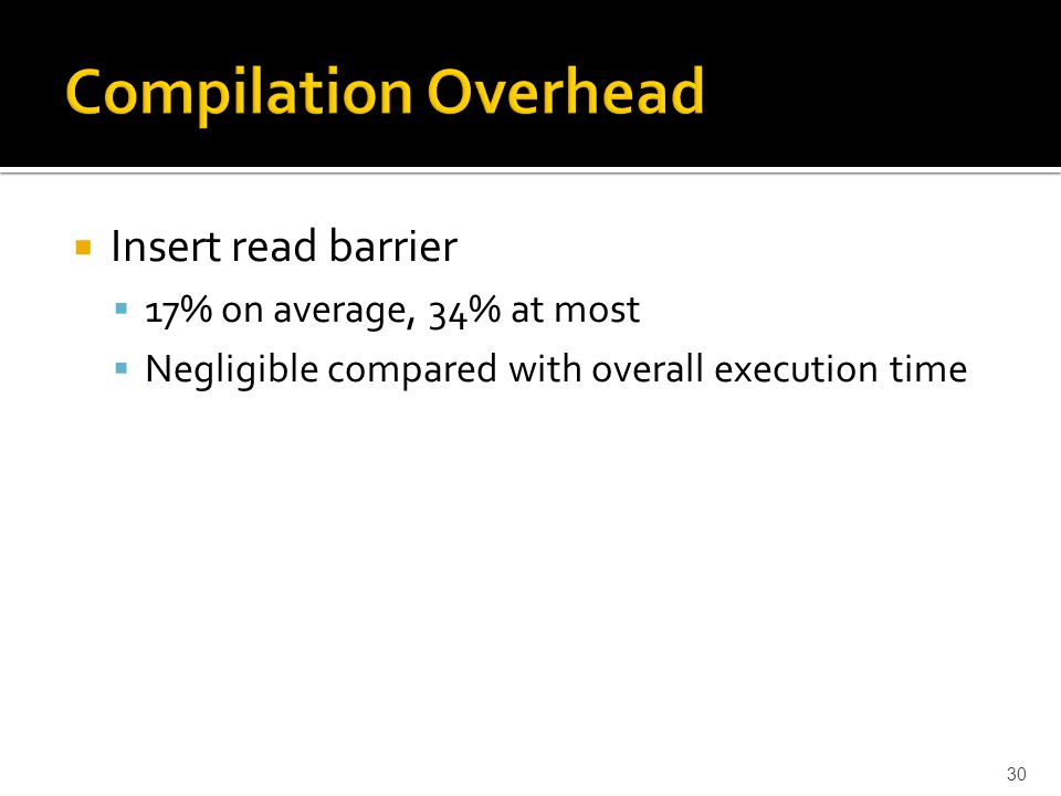  Insert read barrier  17% on average, 34% at most  Negligible compared with overall execution time 30