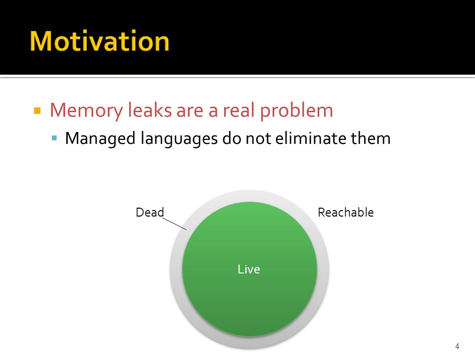  Memory leaks are a real problem  Managed languages do not eliminate them 4 Live ReachableDead