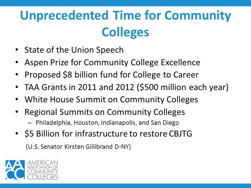 Unprecedented Time for Community Colleges State of the Union Speech Aspen Prize for Community College Excellence Proposed $8 billion fund for College