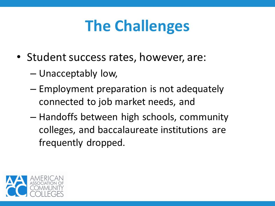 The Challenges Student success rates, however, are: – Unacceptably low, – Employment preparation is not adequately connected to job market needs, and