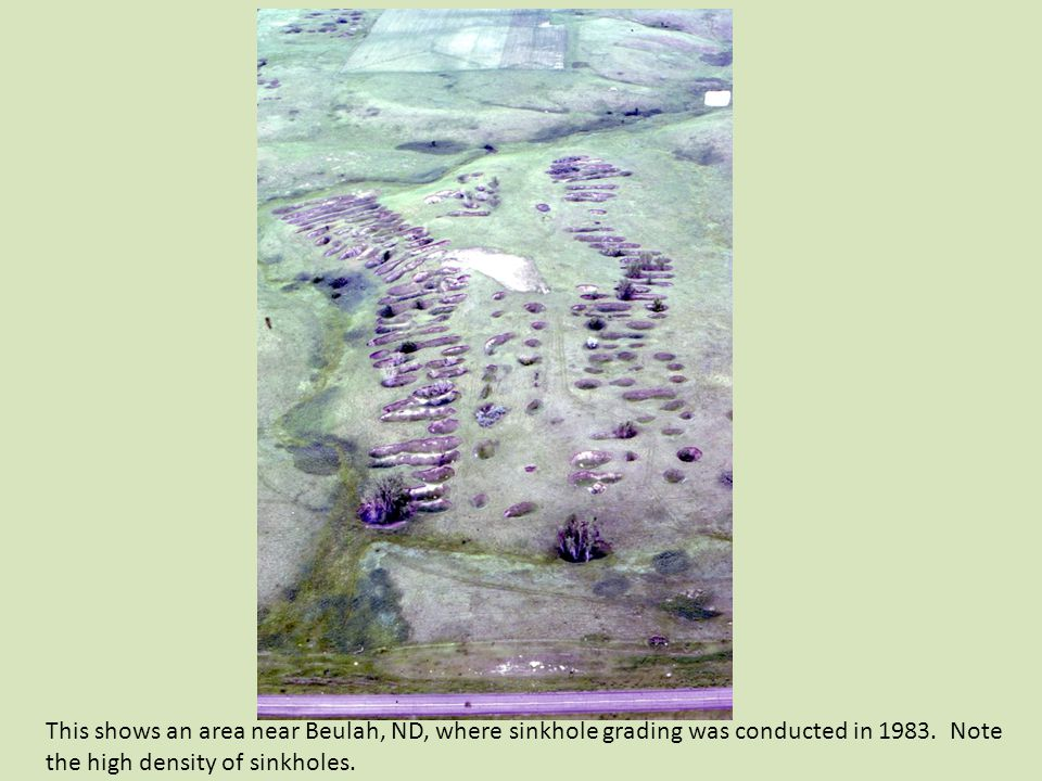 This shows an area near Beulah, ND, where sinkhole grading was conducted in 1983.