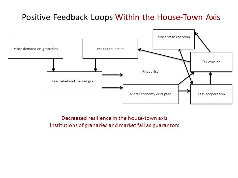 Positive Feedback Loops Within the House-Town Axis More demand on granariesLess tax collection Less relief and market grain Decreased resilience in the house-town axis Institutions of granaries and market fail as guarantors Moral economy disrupted Prices rise Less cooperation Tax evasion More state coercion