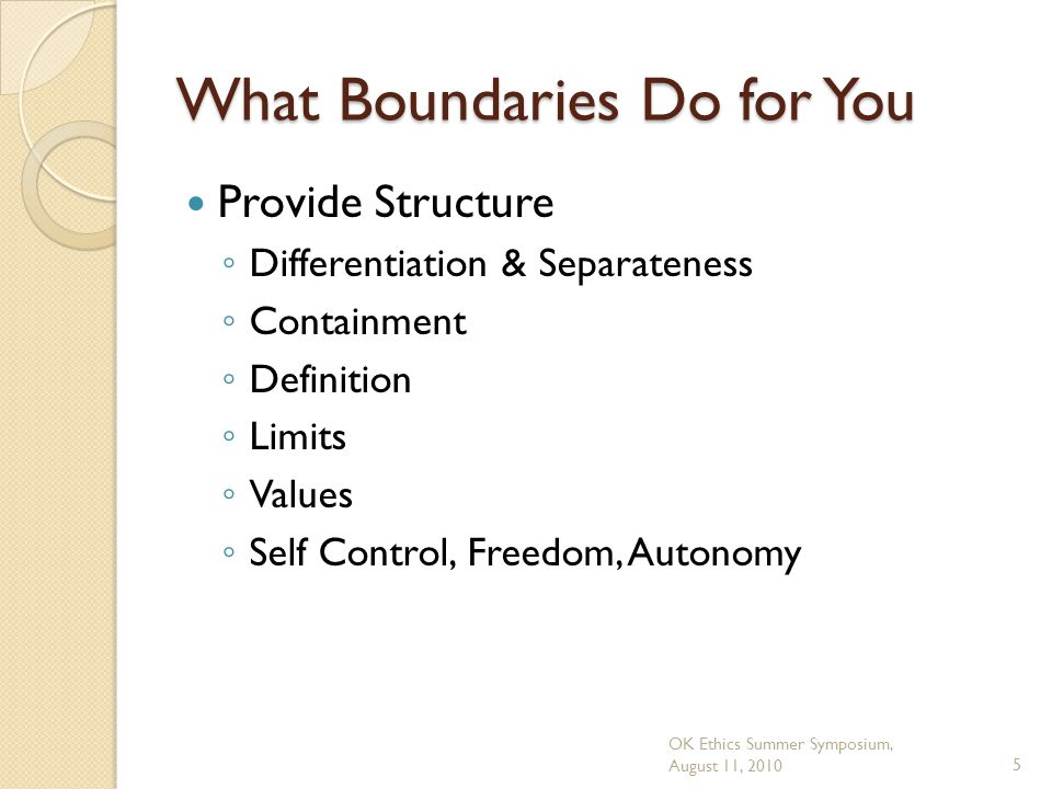 OK Ethics Summer Symposium, August 11, 20105 What Boundaries Do for You Provide Structure ◦ Differentiation & Separateness ◦ Containment ◦ Definition ◦ Limits ◦ Values ◦ Self Control, Freedom, Autonomy