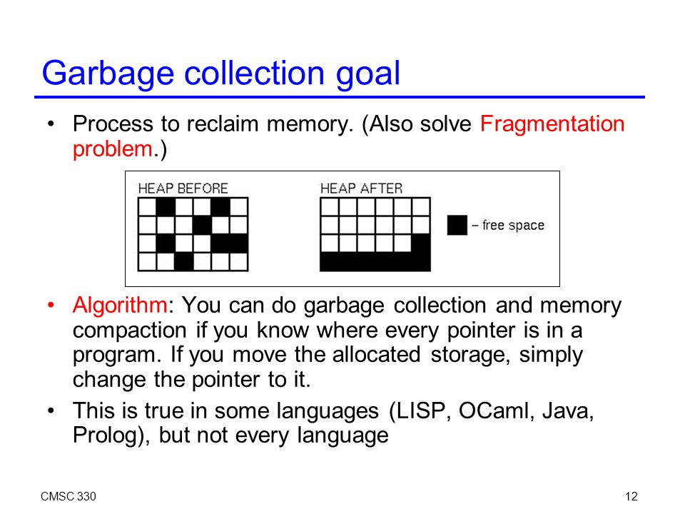 CMSC 33012 Garbage collection goal Process to reclaim memory. (Also solve Fragmentation problem.) Algorithm: You can do garbage collection and memory
