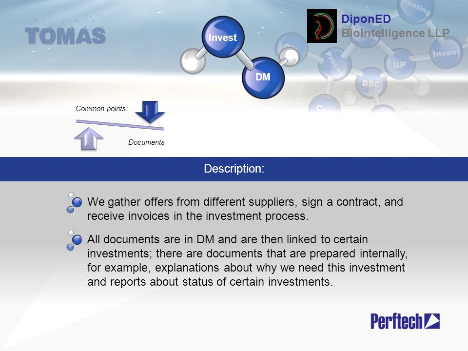 Invest DM Description: We gather offers from different suppliers, sign a contract, and receive invoices in the investment process. All documents are i