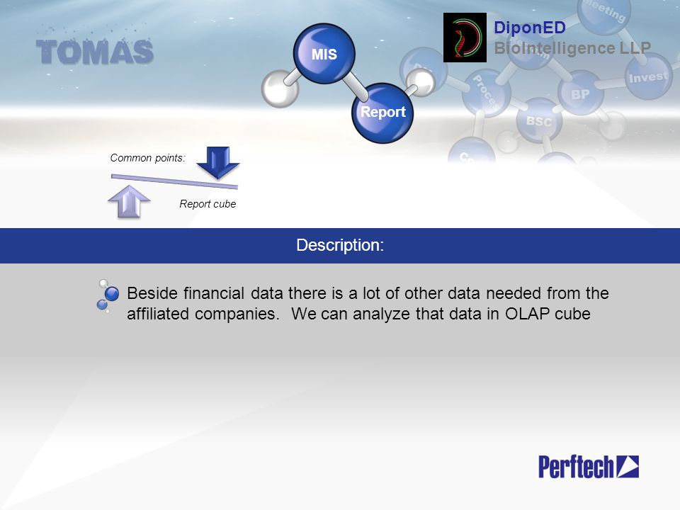 Common points: Report cube MIS Report Description: Beside financial data there is a lot of other data needed from the affiliated companies. We can ana