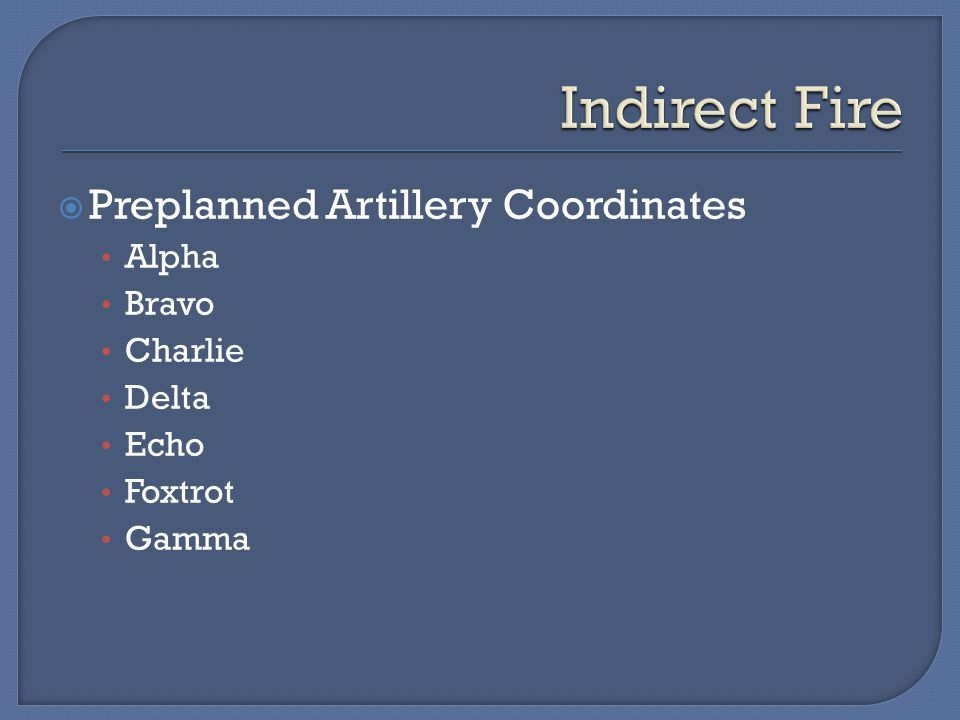  Preplanned Artillery Coordinates Alpha Bravo Charlie Delta Echo Foxtrot Gamma