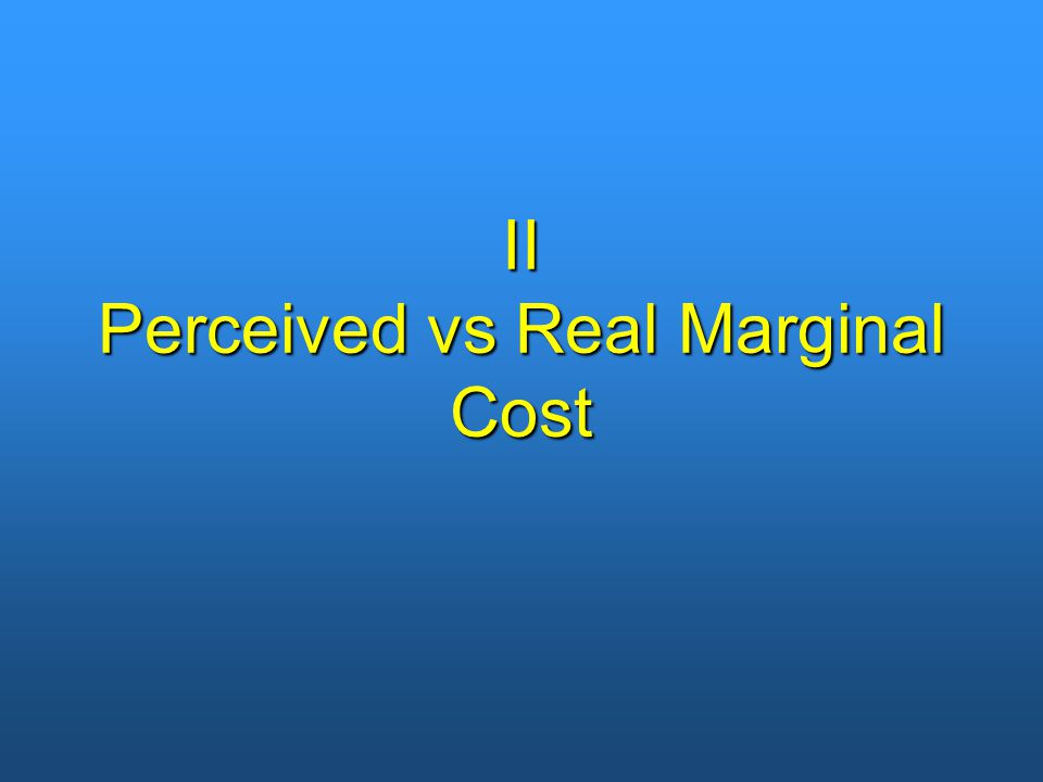 II Perceived vs Real Marginal Cost
