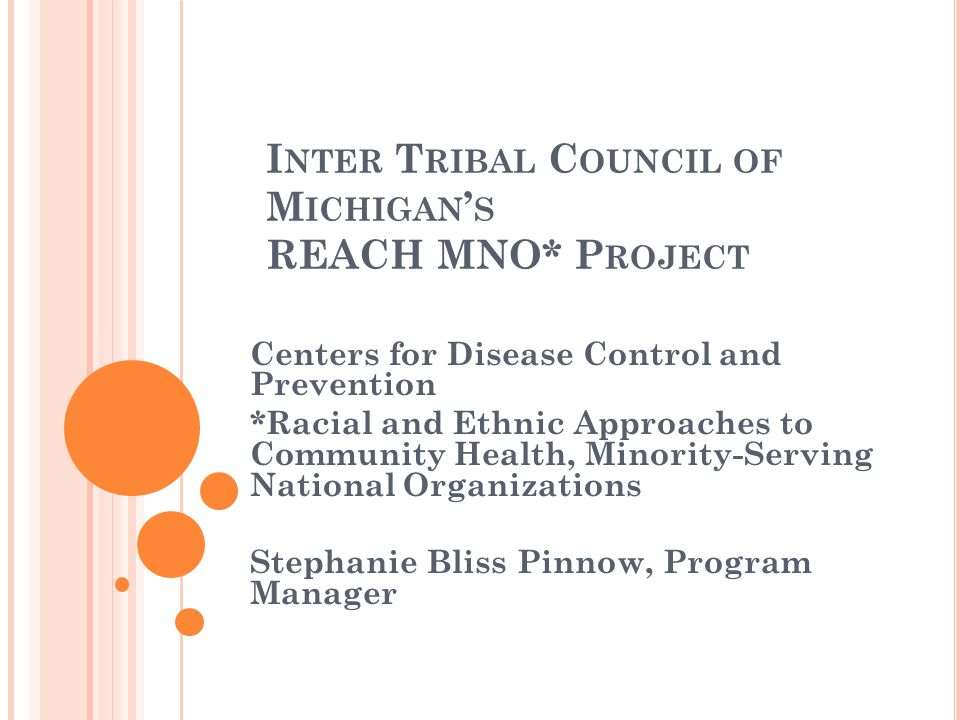 I NTER T RIBAL C OUNCIL OF M ICHIGAN ' S REACH MNO* P ROJECT Centers for Disease Control and Prevention *Racial and Ethnic Approaches to Community Hea