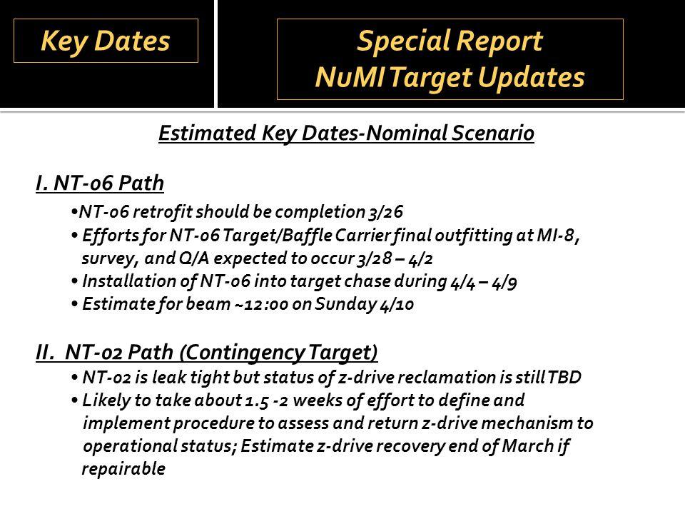 Special Report NuMI Target Updates Special Report NuMI Target Updates Estimated Key Dates-Nominal Scenario I.