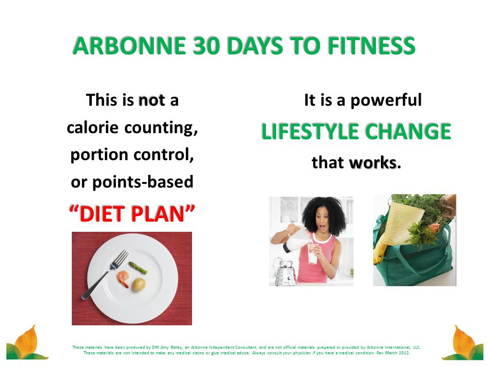 ARBONNE 30 DAYS TO FITNESS These materials have been produced by DM Amy Bailey, an Arbonne Independent Consultant, and are not official materials prep