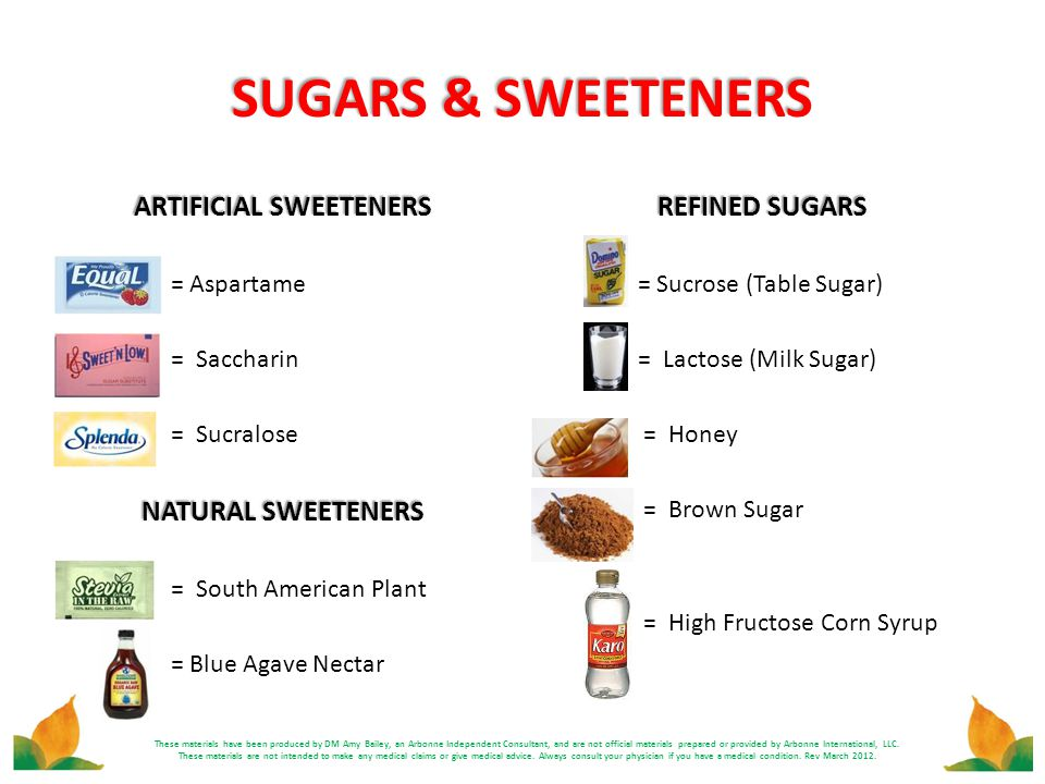 SUGARS & SWEETENERS These materials have been produced by DM Amy Bailey, an Arbonne Independent Consultant, and are not official materials prepared or