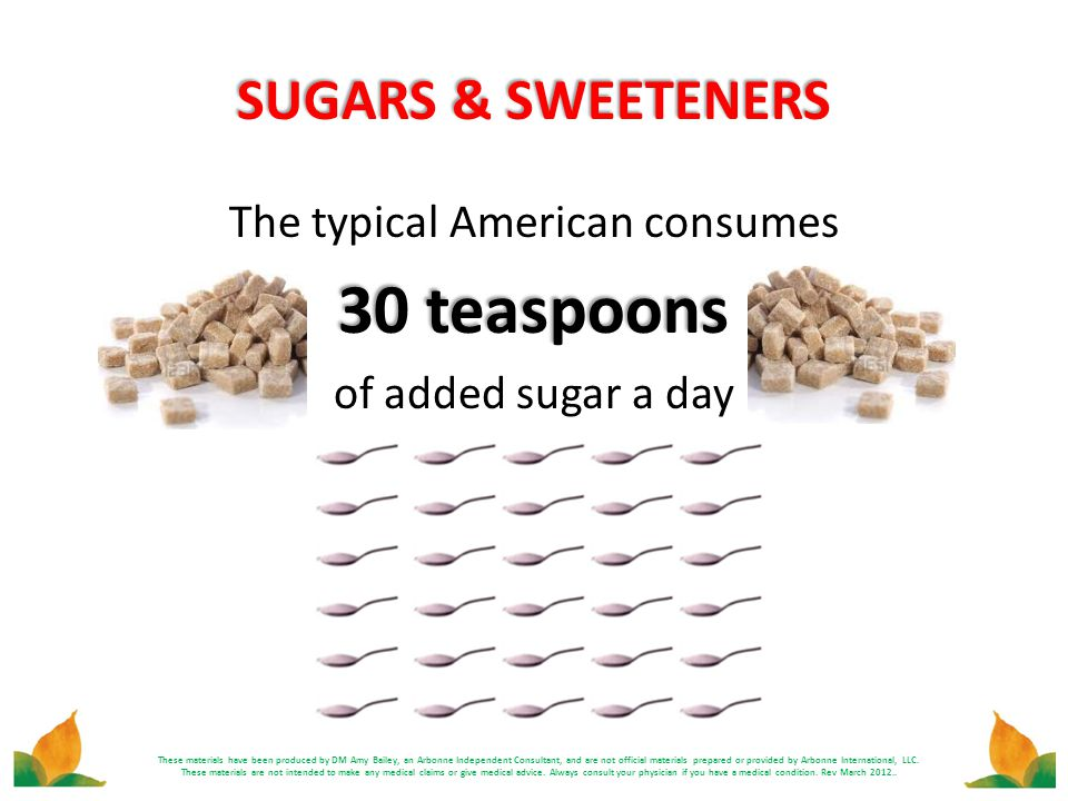 SUGARS & SWEETENERS The typical American consumes 30 teaspoons of added sugar a day These materials have been produced by DM Amy Bailey, an Arbonne In