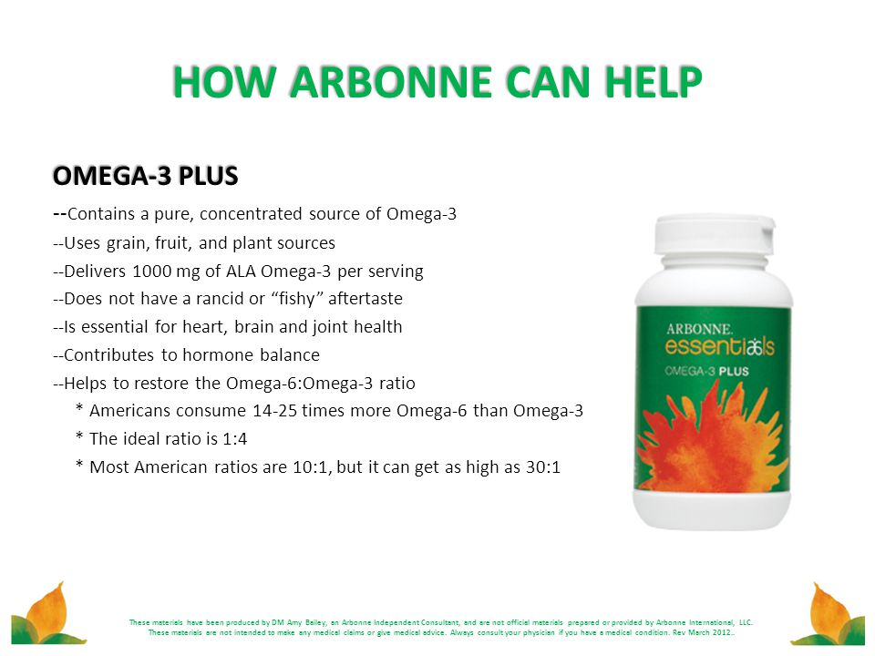 HOW ARBONNE CAN HELP OMEGA-3 PLUS -- Contains a pure, concentrated source of Omega-3 --Uses grain, fruit, and plant sources --Delivers 1000 mg of ALA
