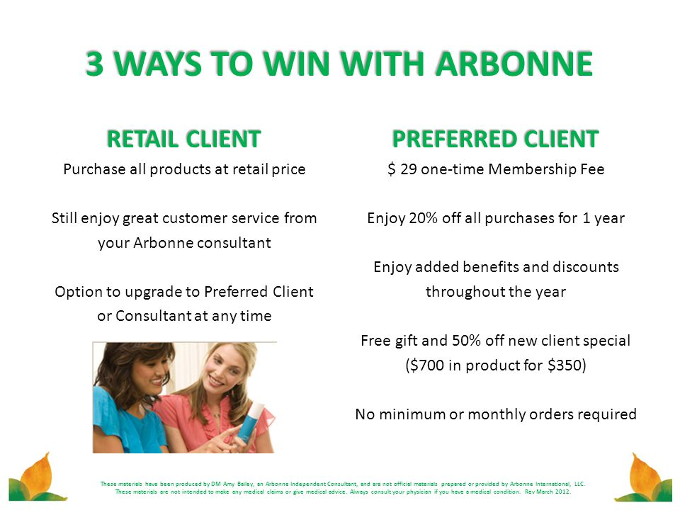 3 WAYS TO WIN WITH ARBONNE RETAIL CLIENT Purchase all products at retail price Still enjoy great customer service from your Arbonne consultant Option