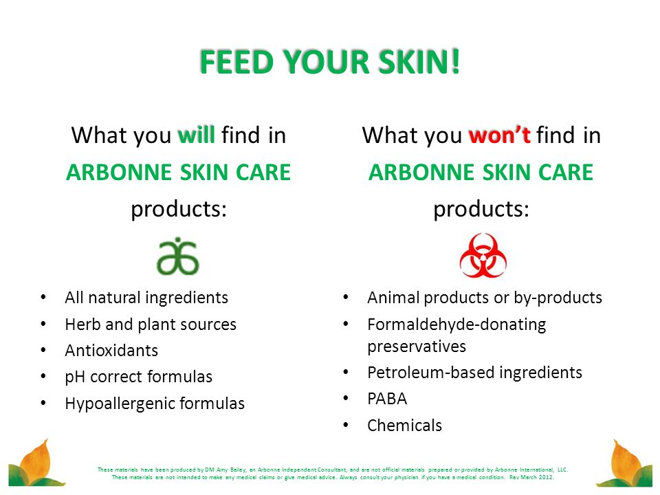 FEED YOUR SKIN! will What you will find in ARBONNE SKIN CARE products: All natural ingredients Herb and plant sources Antioxidants pH correct formulas