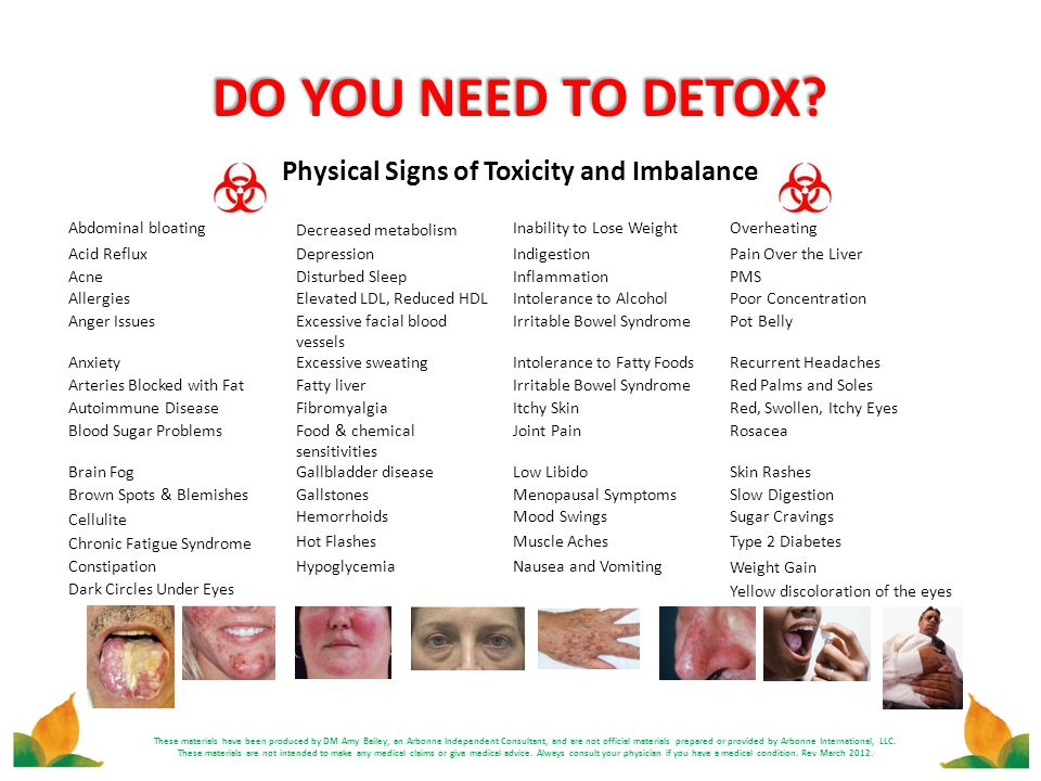 DO YOU NEED TO DETOX? Physical Signs of Toxicity and Imbalance These materials have been produced by DM Amy Bailey, an Arbonne Independent Consultant,