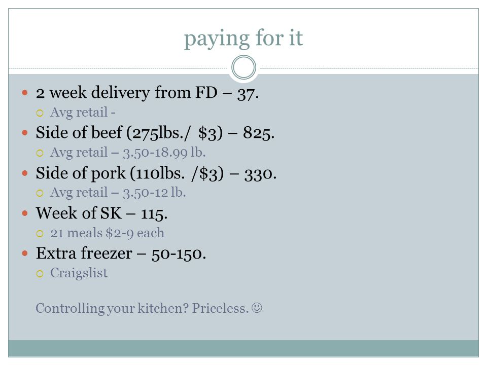 paying for it 2 week delivery from FD – 37.  Avg retail - Side of beef (275lbs./ $3) – 825.