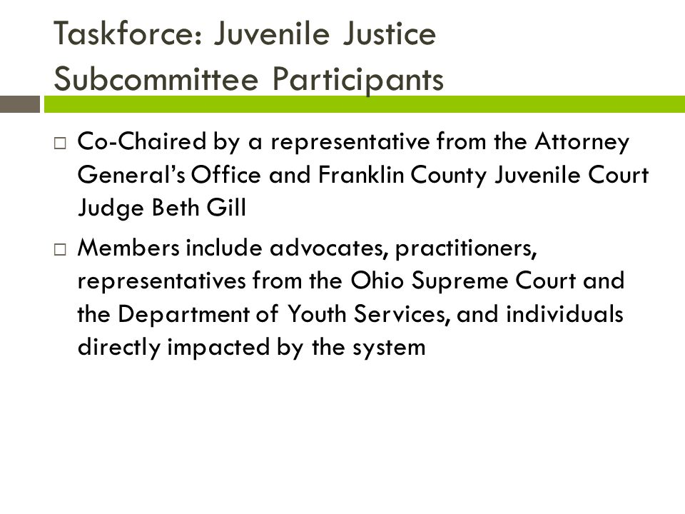 Taskforce: Juvenile Justice Subcommittee Participants  Co-Chaired by a representative from the Attorney General's Office and Franklin County Juvenile Court Judge Beth Gill  Members include advocates, practitioners, representatives from the Ohio Supreme Court and the Department of Youth Services, and individuals directly impacted by the system