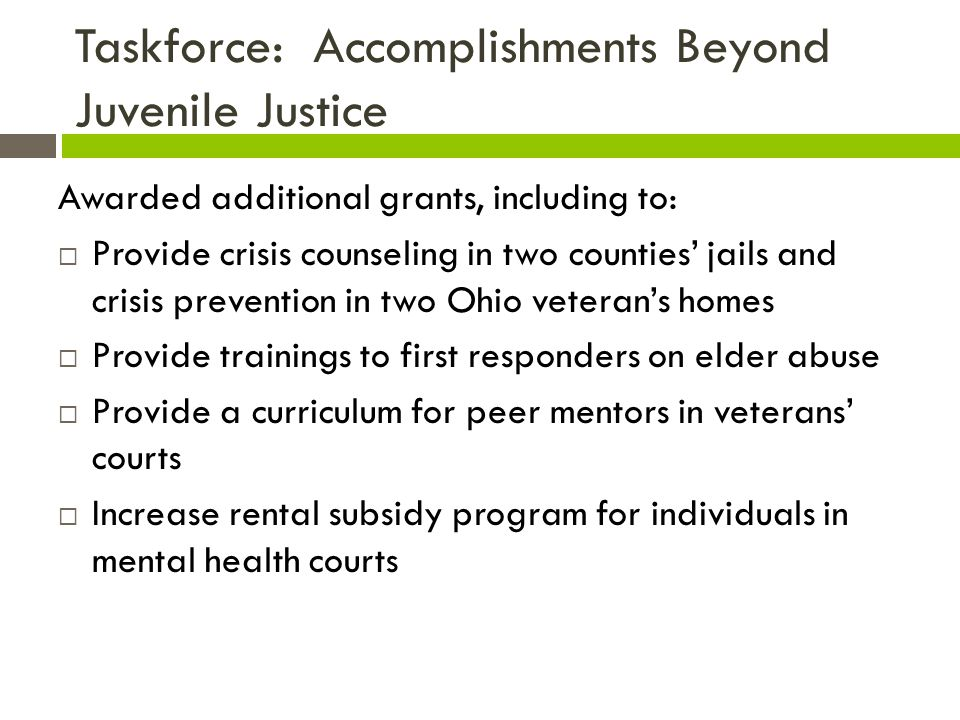 Taskforce: Accomplishments Beyond Juvenile Justice Awarded additional grants, including to:  Provide crisis counseling in two counties' jails and crisis prevention in two Ohio veteran's homes  Provide trainings to first responders on elder abuse  Provide a curriculum for peer mentors in veterans' courts  Increase rental subsidy program for individuals in mental health courts