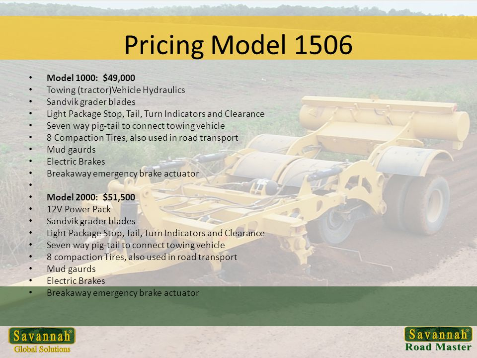 Pricing Model 1506 MODEL 1506 RENTAL PROGRAM 30 Day Terms: 7.5% discount Model 1506 Rent Program: – Monthly (1 month contract): $4,000 per month, depending on availability – Monthly (3 month contract): $3,500 per month, depending on availability – Monthly Rent to Purchase: $3,100 per month, will build to order Maximum monthly contract terms, 18 months 1 st and last month payment due to start production purchased 0-90 days 100% rental equity, purchased 91-180 90% rental equity purchased >180 days 85% rental equity Parts and Repair are the responsibility of the renter.