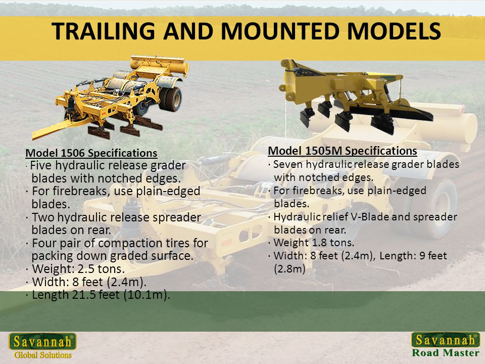 TRAILING AND MOUNTED MODELS Model 1506 Specifications · Five hydraulic release grader blades with notched edges. · For firebreaks, use plain-edged bla