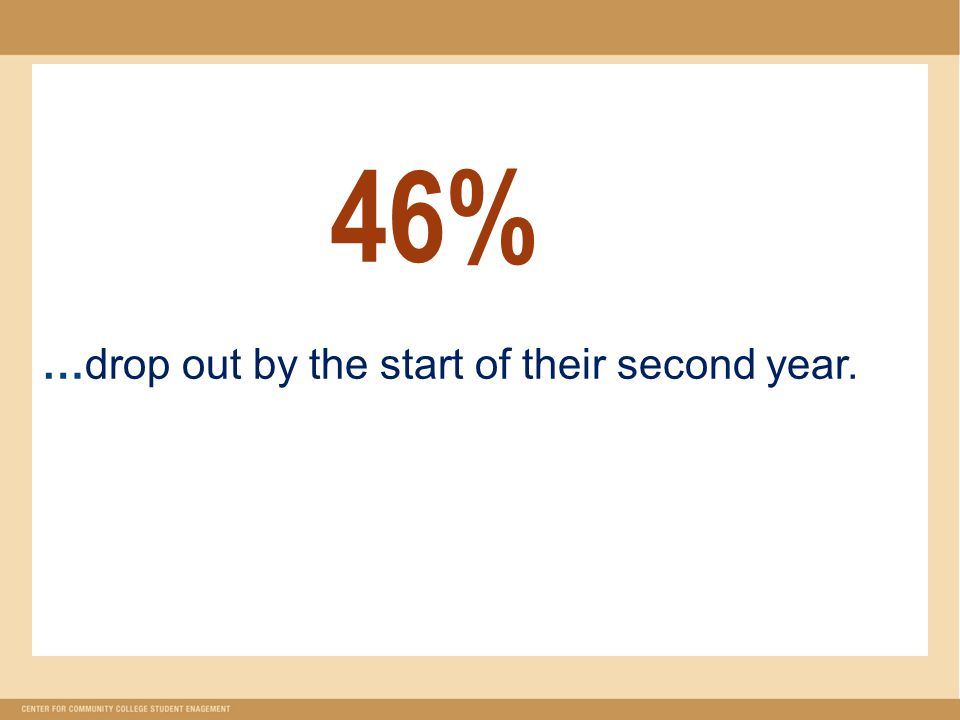 46% …drop out by the start of their second year.