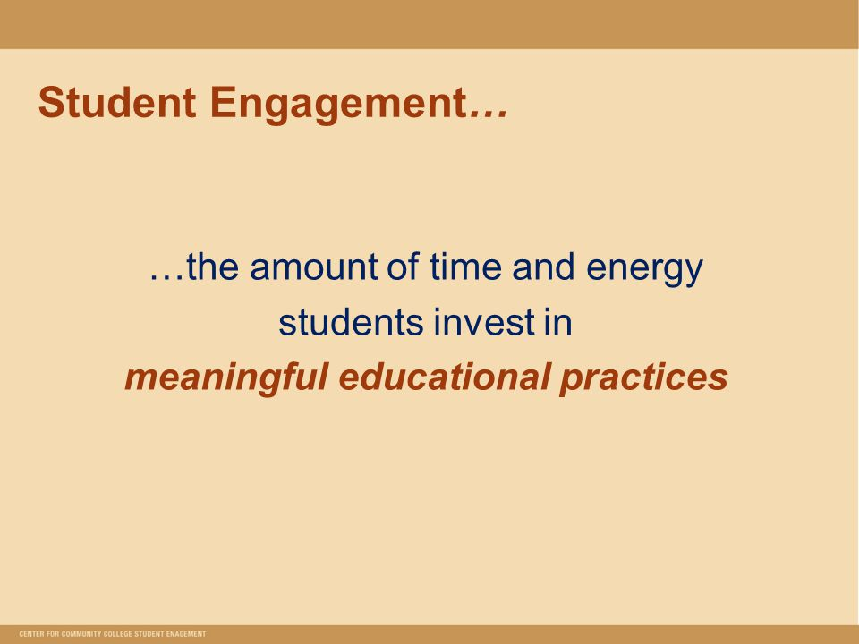 Student Engagement… …the amount of time and energy students invest in meaningful educational practices