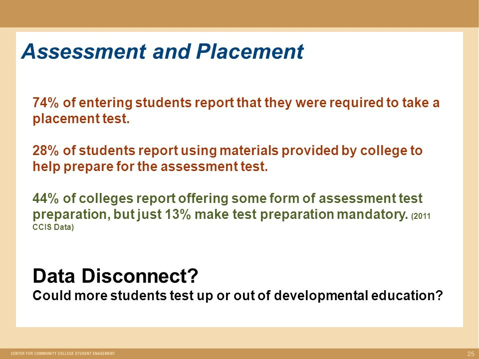 25 Assessment and Placement 74% of entering students report that they were required to take a placement test.